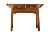 AN ELM WOOD CARVED ALTAR TABLE