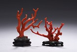 A PAIR OF RED CORAL BRANCH DECORATION