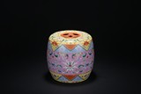 A FAMILLE ROSE 'FLORAL SCROLL' STOOL