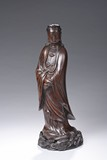 A LARGE AGARWOOD CARVED FIGURE OF GUANYIN