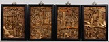 A SET OF FOUR WOOD GILT LACQUER PANELS