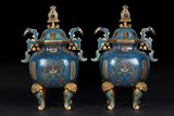 A PAIR OF LARGE CLOISONNE ENAME DING VESSELS WITH COVER