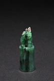 A JADEITE 'LION' SEAL WITH DIAMOND PENDANT