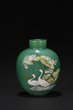 AN ENAMELLED GLASS 'LOTUS AND DUCKS' SNUFF BOTTLE