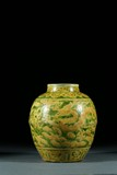 A GREEN GROUND YELLOW ENAMELLED 'DRAGON' JAR