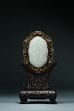 A WHITE JADE GEMS-INLAID GILT BRONZE PANEL