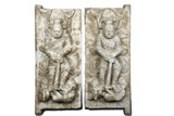 A PAIR OF MARBLE CARVED 'GUARDIAN' STELES