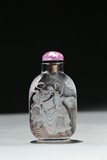 AN INSIDE PAINTED 'GUAN GONG' CRYSTAL SNUFF BOTTLE