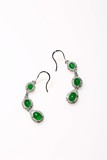 AN INTENSE EMERALD GREEN JADEITE JADE AND DIAMOND EARRING