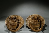 GILT-BRONZE TIBETAN MONASTERY DOOR KNOCKERS PAIR