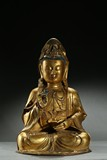 A LARGE GILT-BRONZE STATUE OF GUANYIN
