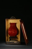A FINE CINNABAR LACQUER CARVED SQUARE VASE