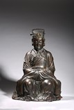 LARGE PARCEL-GILT BRONZE TAOIST STATUE OF WENCHANG