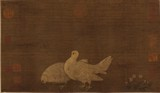 ANONYMOUS: COLOR AND INK ON SILK 'PIGEONS' PAINTING