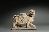 A MARBLE CARVED FIGURE OF LION
