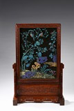A LARGE IMPERIAL KINGFISHER 'FLOWERS BIRDS' TABLE SCREEN