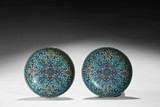 A PAIR OF BRONZE CLOISONNE ENAMEL 'LOTUS' DISHES