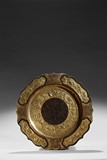 A RARE PARCEL-GILT BRONZE 'FOLIATE AND BIRDS' DISH
