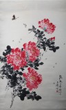 WANG XUETAO: COLOR AND INK ON PAPER 'PEONIES' PAINTING