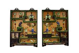 A PAIR OF ZITAN FRAMED AND JADES INLAID LACQUER HANGING PANELS