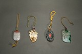 GROUP OF JADEITE, AGATE, CORAL, MOTHER OF PEARL PENDANTS