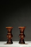 A PAIR OF GLASS GILT-PAINTED VASES