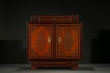 AN IMPERIAL BAMBOO VENEER CARVED CABINET