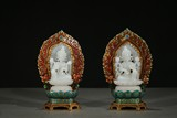 PAIR OF ENAMELLED GOLD GEMS INLAID WHITE JADE DEITIES
