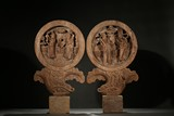 A PAIR OF WOOD 'FIGURES' SCREEN PANELS