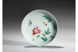 A FAMILLE ROSE 'FLOWERS AND BUTTERFLY' DISH