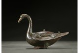 A BRONZE SILVER AND GOLD INLAID DUCK CENSER