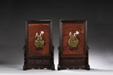 A PAIR OF ROSEWOOD JADE INLAID SCREEN PANELS