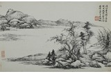 WU HUFAN: INK ON PAPER 'RIVERSCAPE' PAINTING