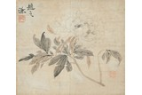 ZHAO ZHIQIAN: COLOR AND INK 'PEONY' PAINTING