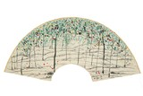 WU GUANZHONG: COLOR AND INK 'LANDSCAPE' FAN PAINTING