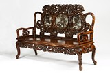 A HONGMU ROSEWOOD MOTHER OF PEARL BENCH