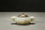 A WHITE JADE TRIPOD CENSER WITH SILVER COVER