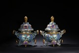 A PAIR OF LARGE CLOISONNE ENAMEL CENSERS