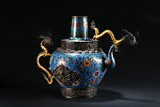 A LARGE CLOISONNE ENAMEL 'DRAGON' WINE VESSEL