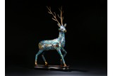 A LARGE CLOISONNE ENAMEL MODEL OF STAG