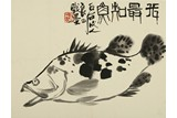 QI LIANGSI: INK ON PAPER 'FISH' PAINTING