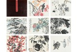 VARIOUS ARTIST'S: COLOR AND INK SIX-LEAF ALBUM PAINTING