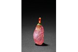 A PINK TOURMALINE CARVED SNUFF BOTTLE