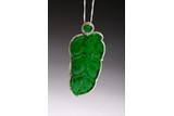 A JADEITE AND DIAMOND 'LEAF' PENDANT