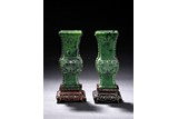 A PAIR OF SPINACH GREEN JADE GU VASES