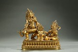 A JOINED GILT-BRONZE STATUE OF TWO BODHISATTVA