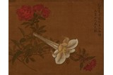MA YUANYU: COLOR AND INK ON SILK 'FLOWER' PAINTING