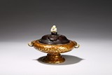 A BRONZE GILT-SPLASHED CENSER AND COVER