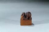 A SHOUSHAN SOAPSTONE 'TIGER CUBS' SEAL