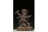 A RARE ALOESWOOD CARVED FIGURE OF MAHAKALA